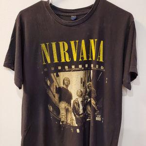 Nirvana Film Sepia Band Photo T Shirt Cobain Sz L